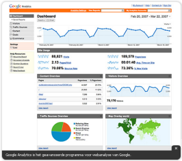 Google analytics, klik hier voor een video demo.